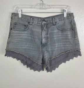 Free People| High Rise Lace Denim Shorts 28